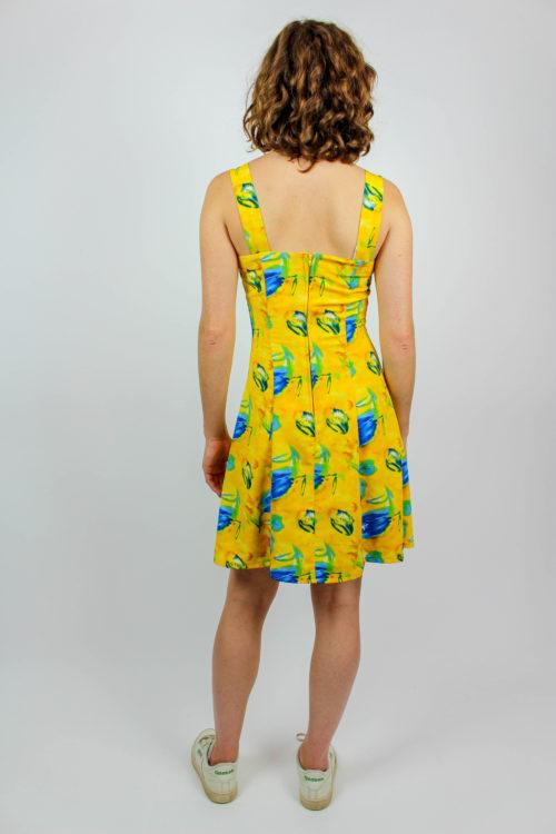 Kleid gelb blau geblümt