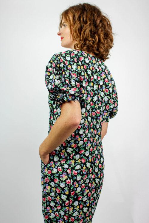Kleid schwarz geblümt