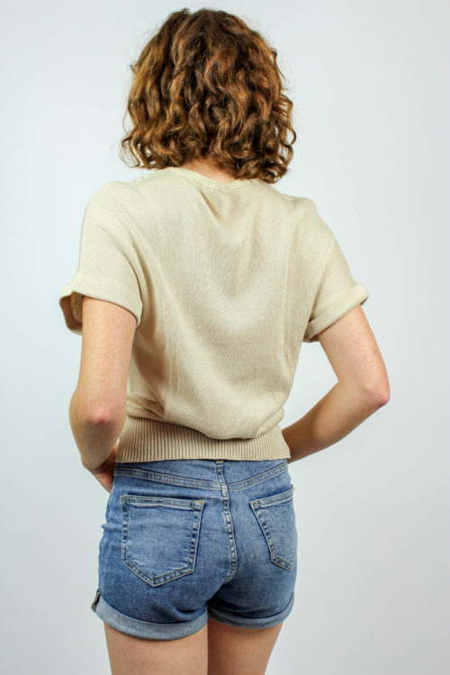 Pullover kurzarm beige