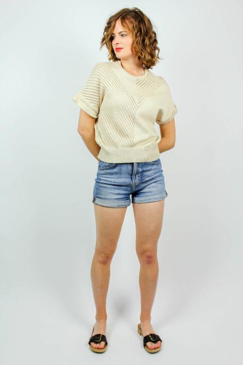 Shirt beige Lochmuster