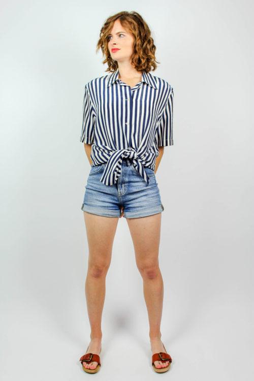 Vintage Bluse blau weiß