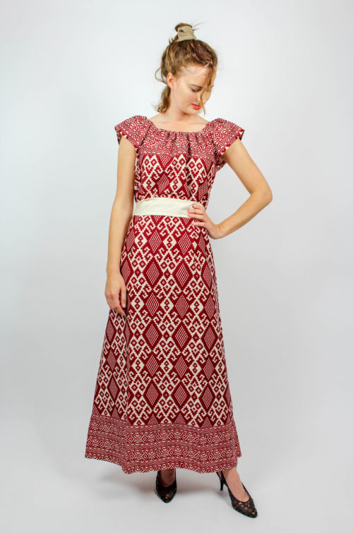 Vintage Kleid rot weiß