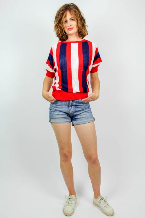 Vintage Shirt blau rot weiß