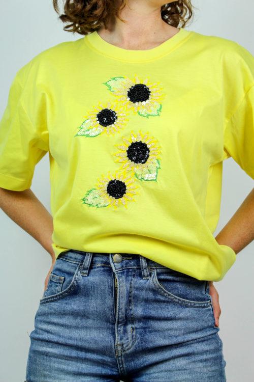 gelbes Shirt mit Sonnenblumen