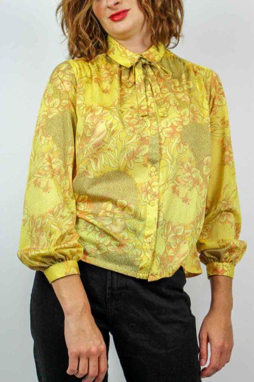 Bluse gelb Blätter