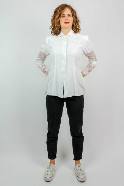 Bluse langarm weiß Spitze