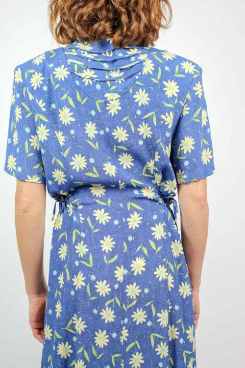 Kleid blau geblümt