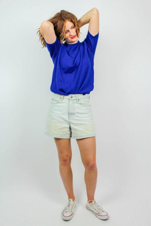 Shirt blau kurzarm
