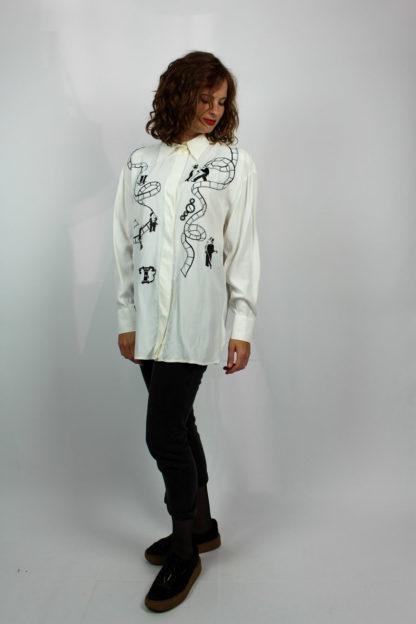 Bluse weiß gemustert