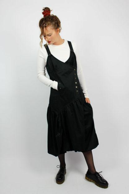 Kleid schwarz weiße Nadelstreifen