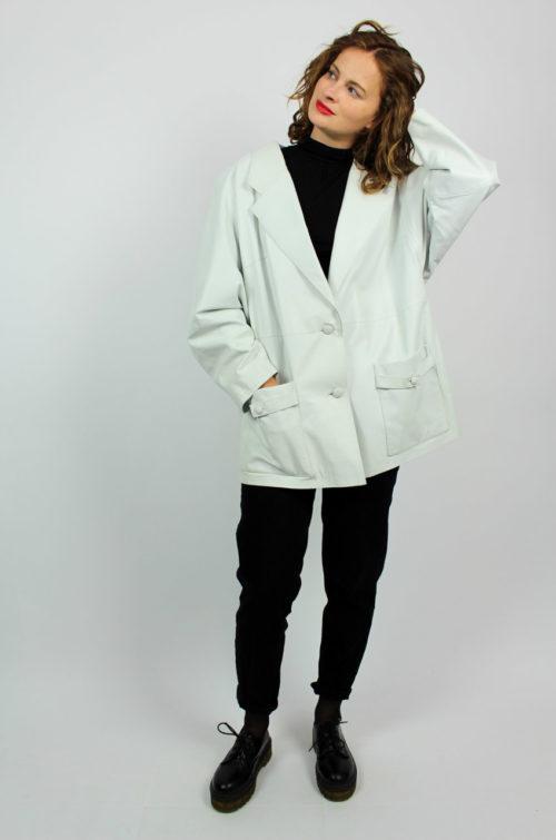 Vintage Lederjacke weiß